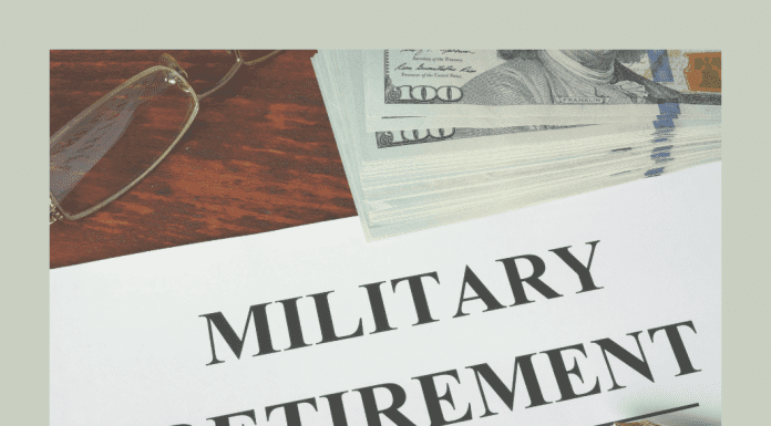 """money, glasses, and pen with paper that reads """"military retirement"""""""