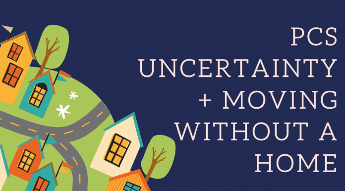 """a graphic of homes and streets with """"PCS Uncertainty + Moving Without A Home"""""""