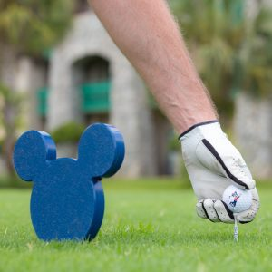 golf course with a blue Mickey Mouse stand