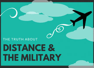 """teal and black graphic with an airplane and sky outline with """"the truth about distance & the military"""" in text"""