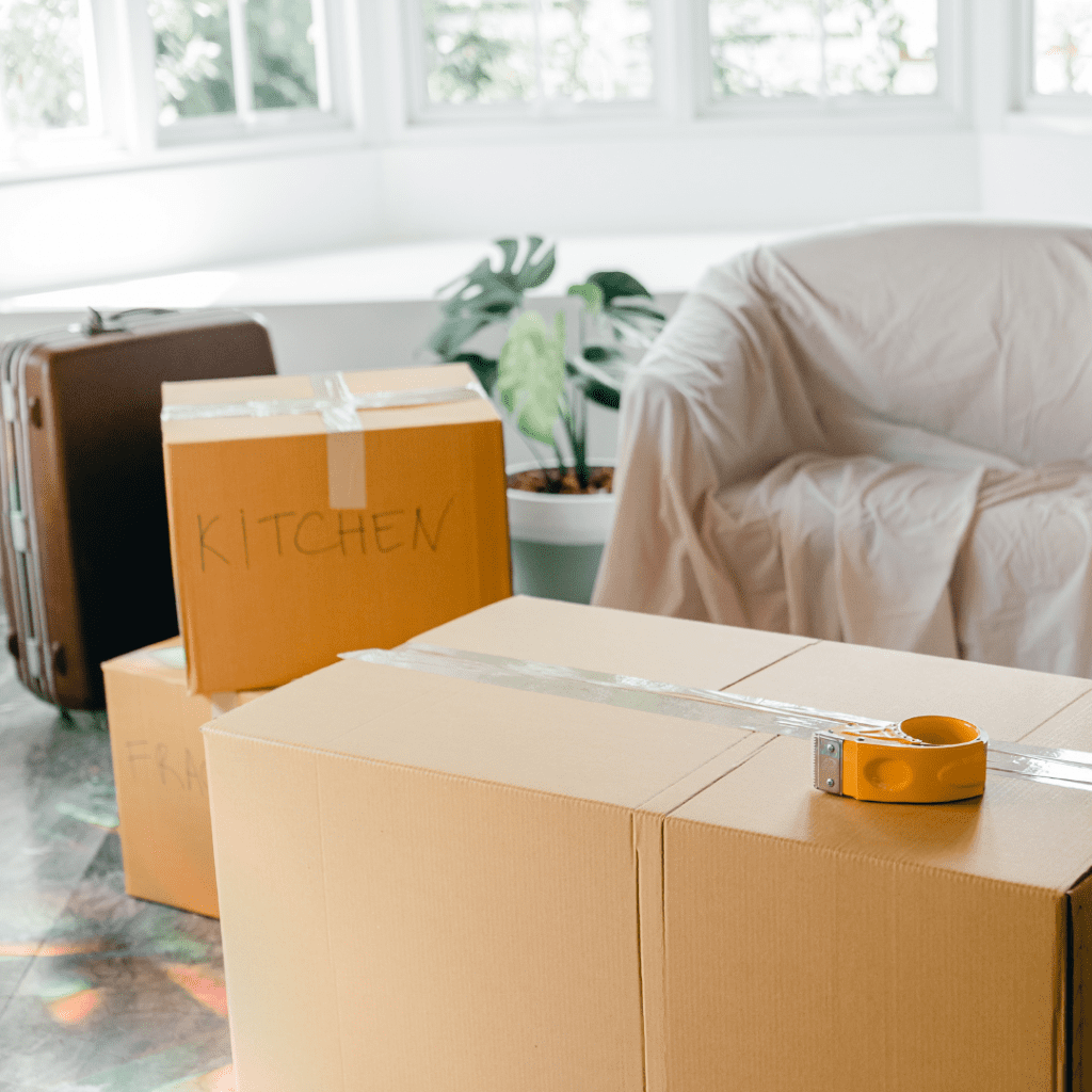 moving boxes and tape in a room