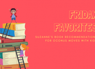 """stack of book with child on top with """"Friday Favorites: Suzanne's Book Recommendations for OCONUS Moves with Kids:"""