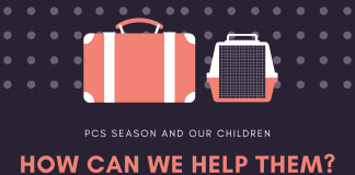 """graphic with luggage and """"PCS Season and our children, how can we help them? in text"""