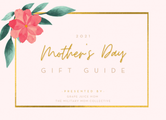 """Pink graphic with floral accent with """"2021 Mother's Day Gift Guide, presented by The Military Mom Collective"""""""