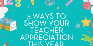 """school supplies on a teal background with """"5 Ways to Show Your Teacher Appreciation This Year"""" in text"""