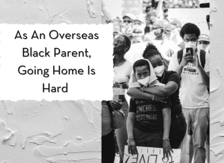 """Black mother holding son on white painted background with """"An An Overseas Black Parent, Going Home Is Hard"""""""