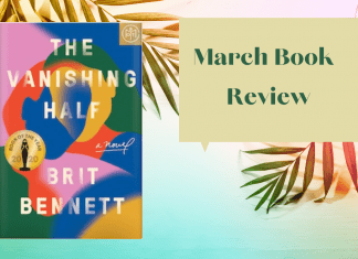 March Book Review graphic with palm leaves and The Vanishing Half by Brit Bennett