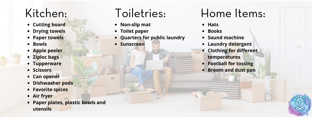 list of items you might need for an extended stay with moving background