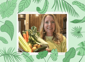 green leaves on green background with woman holding vegetables