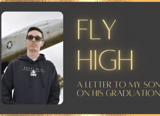 Fly High: A Letter to my Son on his Graduation on brown background with gold details and lettering