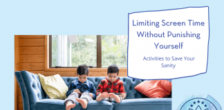 """two boys on tablets on a blue couch, """"Limiting Screen Time Without Punishing Yourself: Activities to Save Your Sanity"""" in text with MMC logo"""