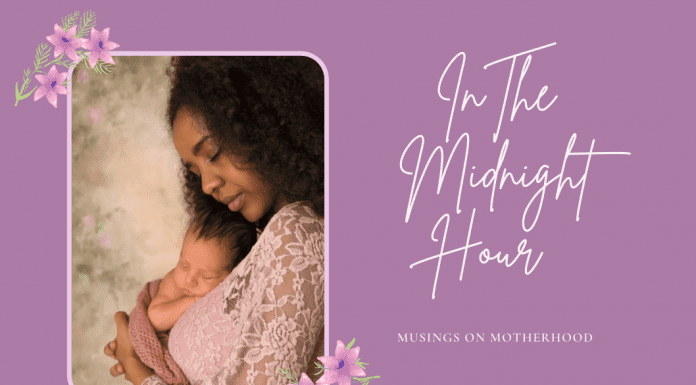 """mother and baby on purple and floral background with """"In the Midnight Hour, Musings on Motherhood"""""""