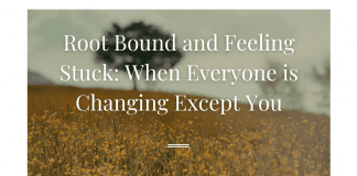 """view of a field of flowers and trees with """"Root Bound and Feeling Stuck: When Everyone is Changing Except You"""" in text and MMC logo"""