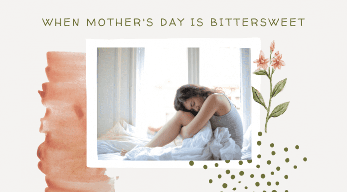 """woman on bed in grief with delicate pink details and """"when mother's day is bittersweet"""" in text"""