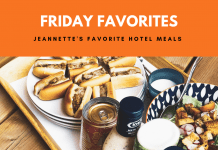 "Sandwiches and salad on platter with ""Friday Favorites: Jeannette's Favorite Hotel Meals"