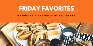 """Sandwiches and salad on platter with """"Friday Favorites: Jeannette's Favorite Hotel Meals"""