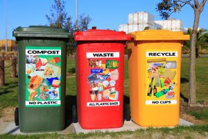 compost, waste, and recycle bins