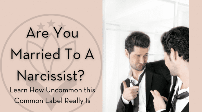 """picture of a man looking in the mirror with """"Are You Married to a Narcissist? Learn How Uncommon This Common Table Really Is"""""""
