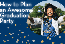 """Graduate throwing confetti with """"How to Plan an Awesome Graduation Party"""" in text"""