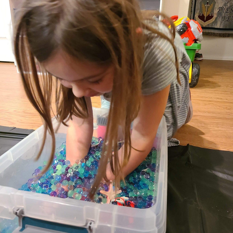 Sensory bin of water beads
