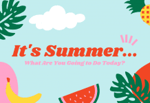 """aqua background with pineapple, banana, watermelon, and palm leaves with """"It's Summer...What Are You Going to Do Today?"""" in text"""