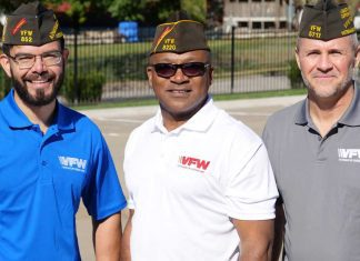 Group of veterans with VFW berets