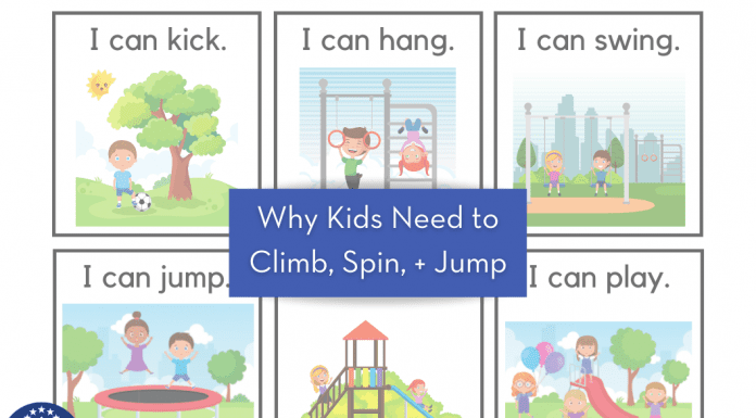 """kids cartoon drawings with various movements and """"Why Kids Need to Climb, Spin, + Jump"""" in text"""