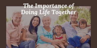 """Multigenerational family portrait in grayscale with """"The Important of Doing Life Together"""" in text"""