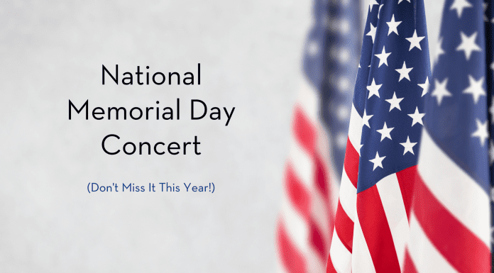 """American flags with """"National Memorial Day Concert, Don't Miss it This Year!"""" in text"""