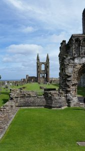 The remains of St Andrew's cathedral in Scotland can be seen. Low parts of walls remain and some taller archways. There is a bright blue sky in the background and green grass is growing amongst the ruins.