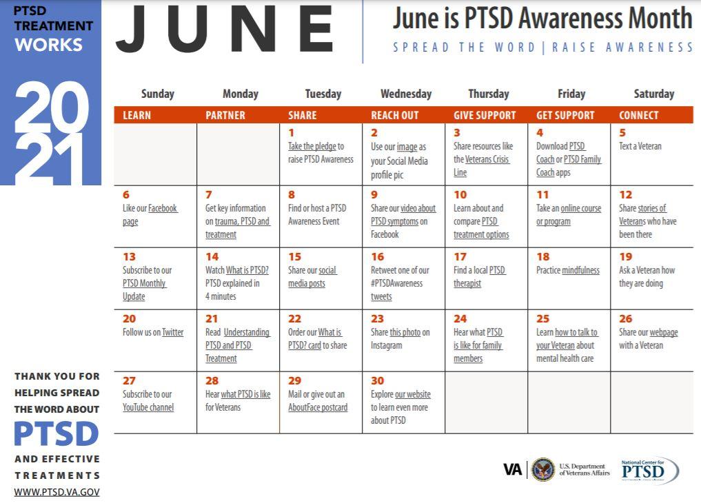 calendar of June PTSD awareness activities from the VA