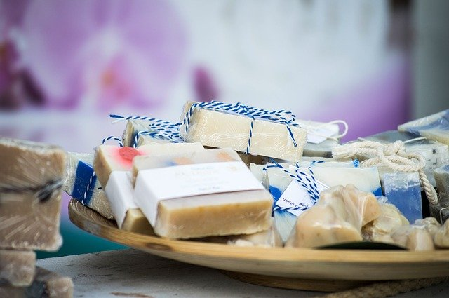 Artisan made soaps wrapped with string in a dish