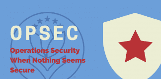 """white badge with red star to signify security with """"OPSEC: Operations Security When Nothing Seems Secure"""" in text"""
