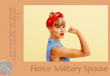 """strong woman with denim shirt and bandana with """"Why Every Spouse Should Describe Themselves as a Fierce Military Spouse"""" in text"""