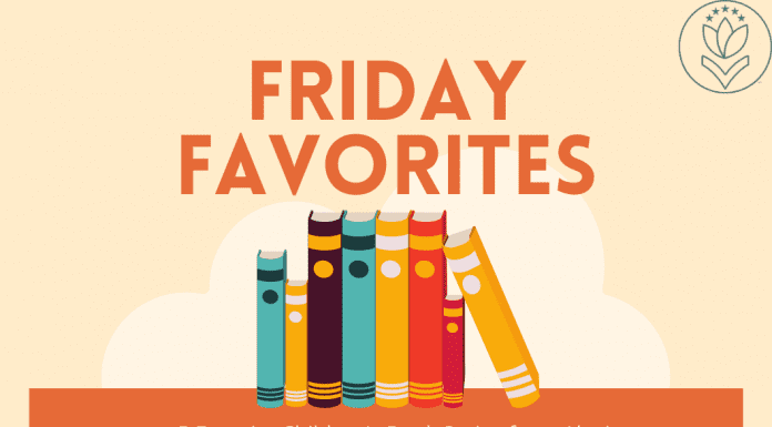 """books shelved on an orange rectangle with """"Friday Favorites: 5 Favorite Children's Book Series from Alexis"""" in text"""