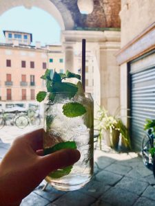 an apertivo or aperitif drink with mint leaves