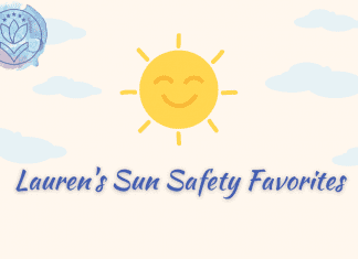 """sun with blue clouds and MMC logo, """"Lauren's Sun Safety Favorites"""" in text"""