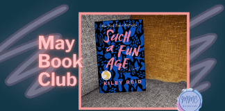 Navy background with pick lettering and Such a Fun Age book and MMC Book Club logo