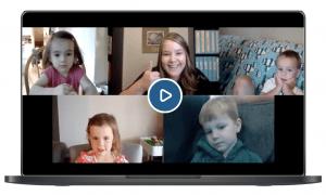 Screenshot of DailiesPods class with four kids learning and having fun with Miss Jessica!