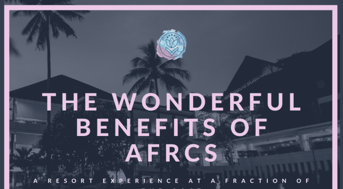 """A resort location in shades of grey with MMC logo and """"The Wonderful Benefits of AFRCs, A Resort Experience at a Fraction of the Cost"""" in text"""
