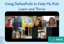 """screenshot of DailiesPods classroom with """"Using DailiesPods to Help My Kids Learn and Thrive"""" in text. MMC and DailiesPods logos present."""