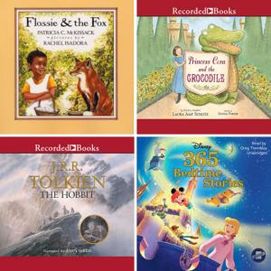 photo grid of four audio books