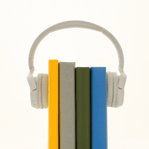 four books together wearing a pair of white headphones