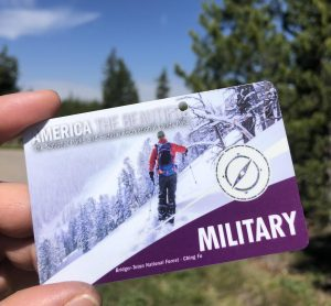 close up of military national park pass