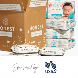 One month's supply of Honest diapers and wipes sponsored by USAA