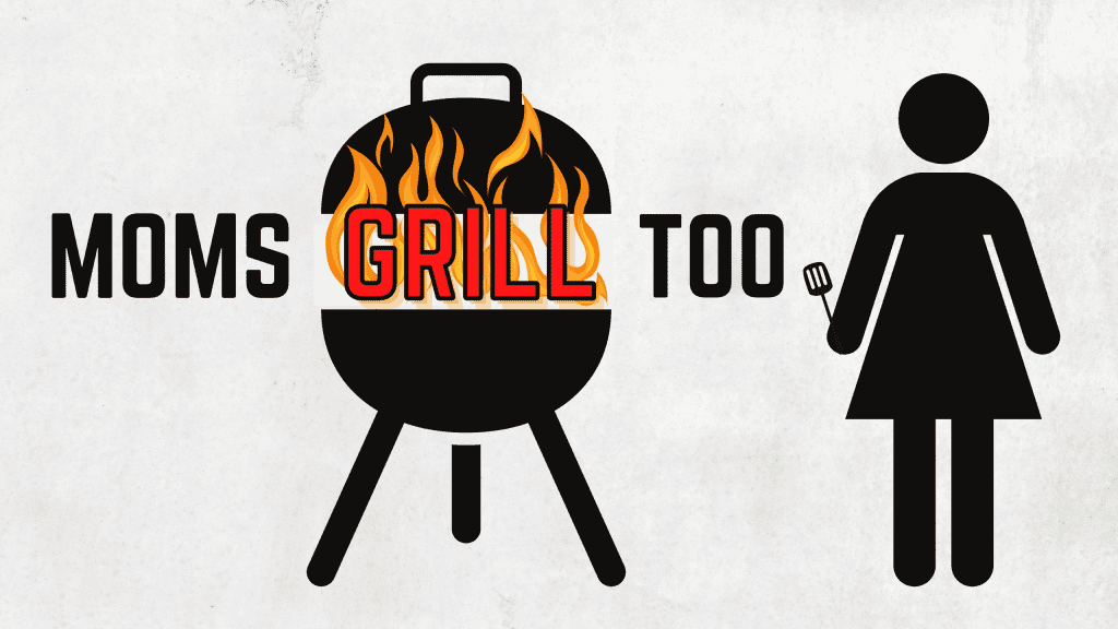 """""""Moms Grill Too."""" Female silouhette holding spatula next to artistic grill with fire"""