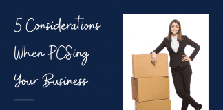 """a woman in a business suit with moving boxes and """"5 Considerations When PCSing Your Business From The Association of Military Spouse Entrepreneurs"""" in text"""