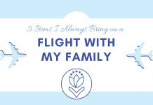 """airplanes with white and blue background and """"5 Items I Always Bring on a Flight with my Family"""" in text"""