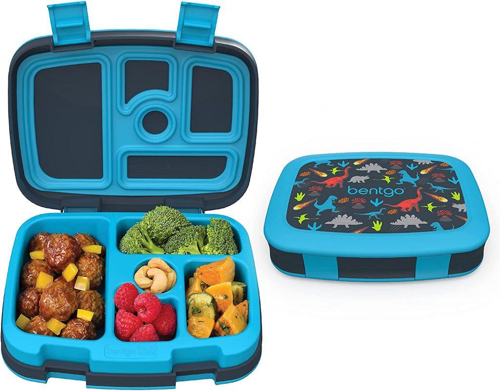 blue bento box with dinosaurs
