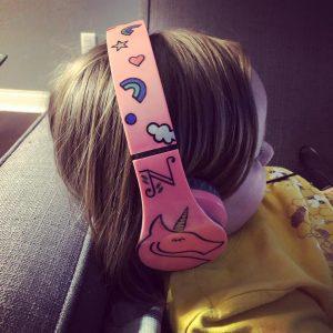 girl with headphones on